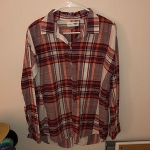 Red plaid collared button down